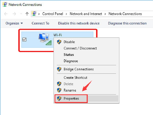 Access the Properties of you network adapter