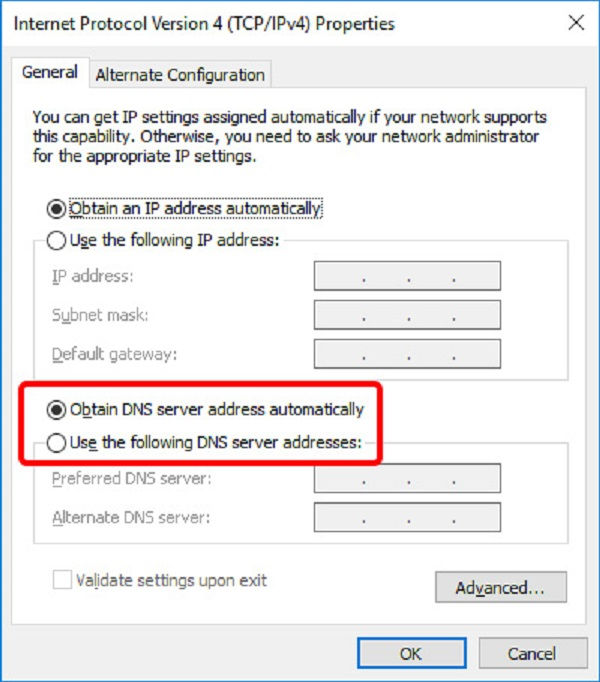 Change from automatic to specific addresses